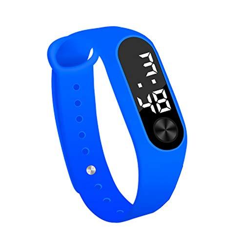 Relógio eletrônico Szkn simples com anel de mão e relógio esportivo de LED, Azul