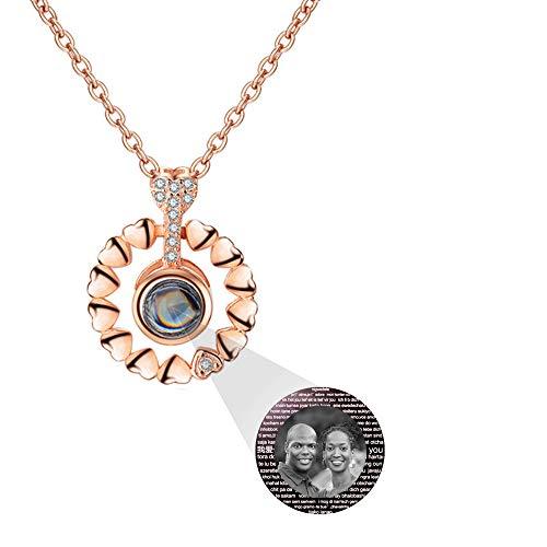 hjsadgasd Collana Personalizzata in Argento 925 Collana con 100 proiezioni di Lingue Collana con Ciondolo Regalo Gioielli per Donna