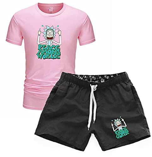 DYJXIGO T-Shirt a Maniche Corte di Rick e Morty Manica Corta, 2 Pezzi da Uomo Estate Traspirante Manica Corta Outfit Esercizio Fitness Pink-S