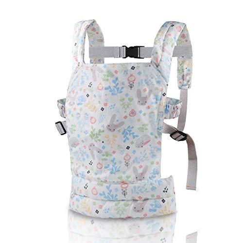 Nabance Portador de muñecas Delantero y Trasero de algodón para niños Patrón Floral Se Adapta a 18 Meses Mochila para bebés Portador de muñecas