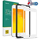 Deyooxi 2 Stück für Panzerglas Schutzfolie für iPhone 7 Plus/iPhone 8 Plus, Full Screen Panzerglasfolie mit Positionierhilfe, 9H Festigkeit Glas Folie,HD Klar Bildschirmschutzfolie,Weiß