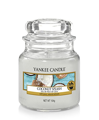 Yankee candle Coconut Splash Candela Profumata, Candele in Giara, Bianco Coconut Splash, piccola
