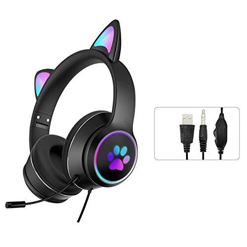 POHOVE Auriculares con luz LED para orejas de gato Auriculares Bluetooth 3.5mm con cable sobre el oído Sonido estéreo plegable Lindo Gaming Headset con RGB para iPhone/ordenador portátil/PC/TV (negro)