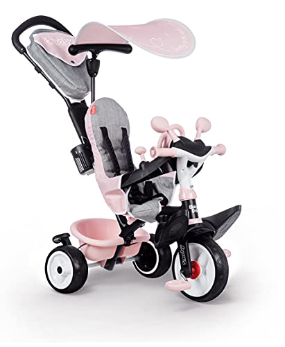 Smoby - Tricycle Baby Driver Plus Rose - Vélo Evolutif Enfant Dès 10 Mois - Roues Silencieuses - Frein de Parking - 741501