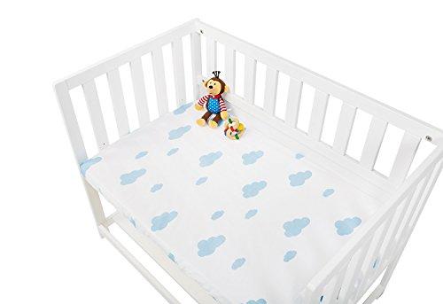 Pinolino 540014-2D Spannbetttücher für Wiegen, Anstellbettchen und Kinderwagen im Doppelpack 'Wölkchen', Jersey, Uni, hellblau/weiß/blau