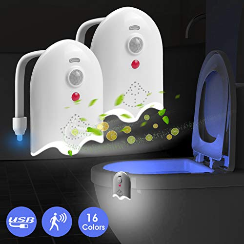 2 Pack Light Up Toilet Night Light Motion Sensor 16 Colors, Rechargeable Led Toilet Bowl Night Light Motion Activated W/ Aromatherapy Tablets, Gag Gadget Gifts Ideas - By Lantoo