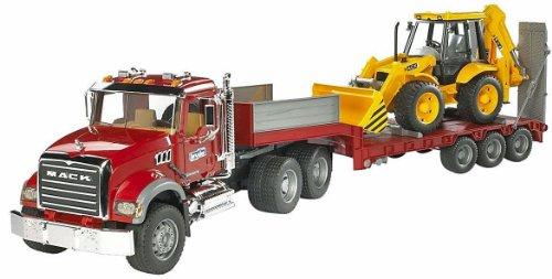 Bruder 2813 TOYS Mack Granite LKW mit Tieflader und JCB 4CX Baggerlader