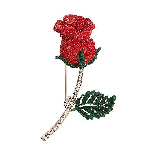 Rosa roja Flor Broche de Cristal Rhinestone Set Solapa Pin Cardigan Chal joyería Femenina Accesorios de Vestir-B