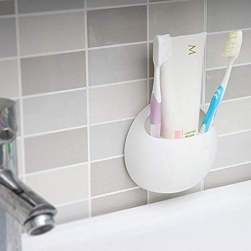 KKRIIS Zahnbürste Sauger Halter Praktische Cup Organizer Zahnbürste Rack Badezimmer Regal Küche Wandmontierte Lagerung, Weiss 11 X 10,5 X 5 cm