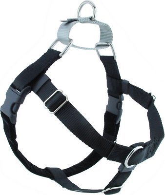 """Freedom No-Pull Harness ONLY (1"""" Wide Large (LG), Black w/Silver Loop)"""