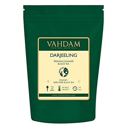 PREMIUM DARJEELING TEA SECOND FLUSH - Una hoja suelta de té negro con cuerpo, con un sabor y aroma deliciosamente ricos   9 oz- 255gm Bulk Pack   Hace más de 150 tazas de té   Empaquetado en una bolsa con cierre de aluminio con cierre hermético de al...
