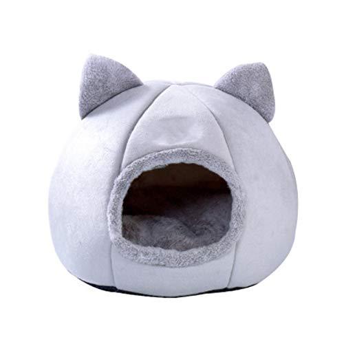 HYY Cama y Cueva para Gatos 2 en 1 - Cesta para Perros y Gatos con Forma de iglú - Cojín Grande y Plegable para Mascotas - Suave y Acolchada (Color : Gray)