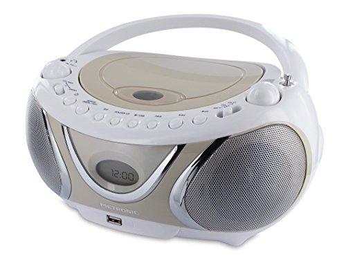 Metronic 477116 - radio y reproductor de cd mp3 portátil con toma usb, radio fm, 2x3w, con salida jack 3.5mm,  casual , beige.