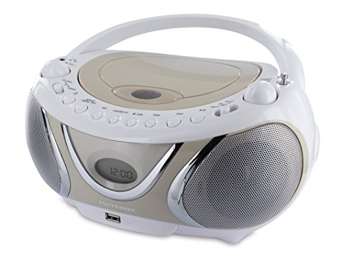 Metronic 477116 Radio CD MP3 Boombox Casual Weiß/Beige