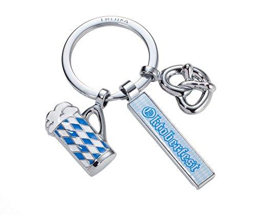 TROIKA OKTOBERFEST – KR17-80/CH – Schlüsselanhänger mit 3 Anhängern – Wies'n – Bayern – München – Metallguss/Emaille– glänzend – verchromt – blau, weiß, silber – TROIKA-Original