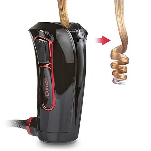 iGutech arricciacapelli automatico con riscaldatore ceramico in tormalina e display digitale a LED (Nero)