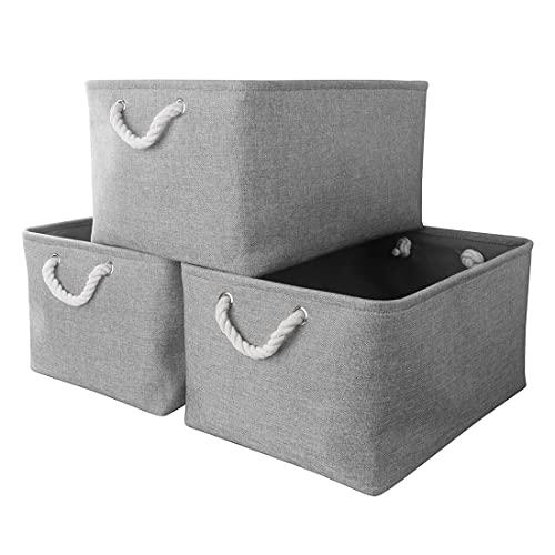 Mangata Aufbewahrungsboxen Stoff, Faltbare Aufbewahrungskorb grau mit Griffen, 3er-Pack (grau, Groß)