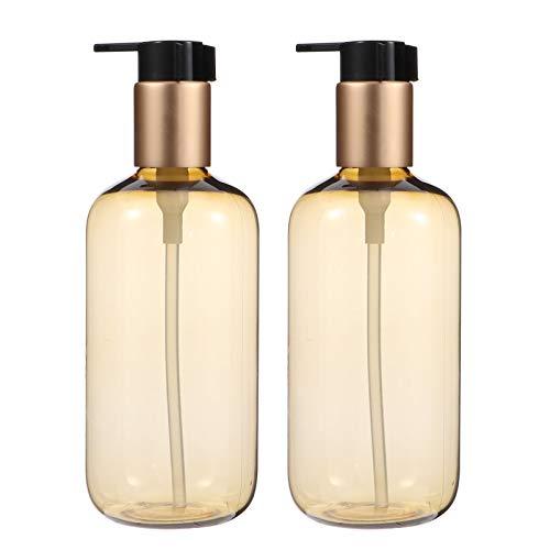 PIXNOR 2 Stück Leere Seifenspender Flasche Presspumpe Nachfüllbare Arbeitsplatte Shampoo Lotion Pumpe Spenderbehälter für Kinder Kinder Bad Küche 300Ml
