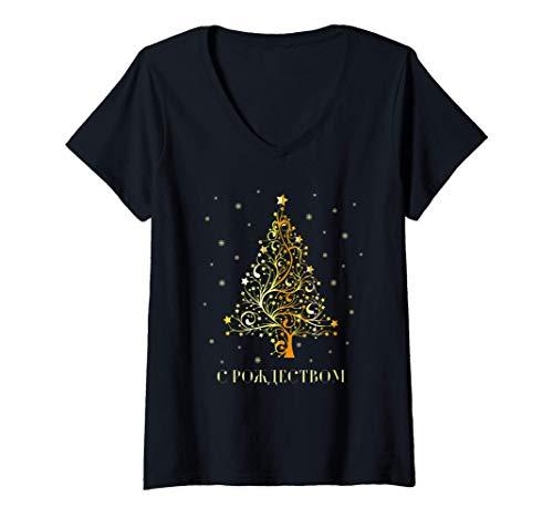 Damen Russische Weihnachten Russischer Weihnachtsbaum Russland T-Shirt mit V-Ausschnitt