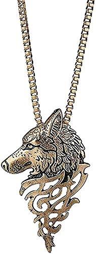 MNMXW Collar Wen Collar Vintage Punk Lobo Colgante Collar Wen Hombres Oro Plata Metal Negro Cabeza de Lobo Collares Colgantes Animal Joyería Colgante Collar Niñas Niños Regalo