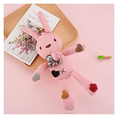 Xcwsmdq Cartoon anime keychain Floral Cloth Teddy Bear Rabbit Plush Bunny Dolls Key Bag Pendant Rabbit Plush Keychain (Color : 3)