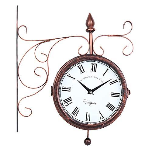 Samger Reloj de Pared de Vintage Doble Cara con Soporte Estilo Europeo Antiguo Jardín Tren Estación Reloj de Pared para Uso Interior y Exterior Bronce