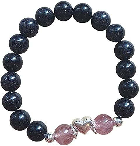 Pulsera de La Suerte,Piedra Arenisca Azul Pulsera de Feng Shui Cuentas de Amor Cristal de Fresa Chakra Curativo Ajustable para Mujer Meditación para La Buena Fortuna Valiente Riqueza de La Suerte