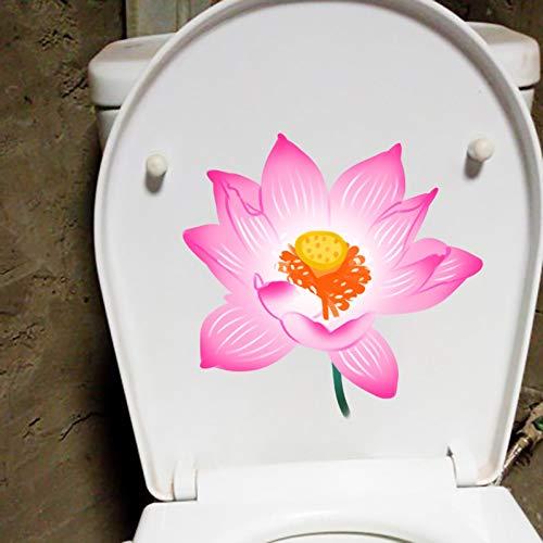 ZPZZPY Wandaufkleber 23,5X22,7 CM Rosa Lotus Cartoon Pflanze Toilettensitz Aufkleber Kreative Wohnwand Decor