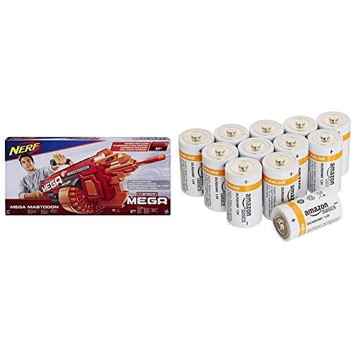 Hasbro Nerf B8086EU4 - N-Strike Elite Mega Mastodon, Spielzeugblaster & AmazonBasics Batterien Alkali, Typ D, 12Stück