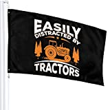 Jopath Fácilmente distraído por tractores-5 banderas de 3 x 5 pies, decoraciones al aire libre de vacaciones Banner de jardín con ojales de latón