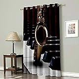 Scrummy Cortinas oscurecedoras para dormitorio, cortinas opacas con aislamiento térmico, ojales en la parte superior, saxofón en teclas de piano 135 x 230 cm