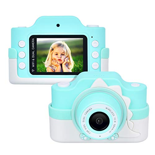 Miavogo Cámara infantil WiFi con doble lente, cámara fotográfica para niños, 24 megapíxeles, pantalla de 2 pulgadas, HD 1080p, bonita cámara digital para niños y niñas (azul)