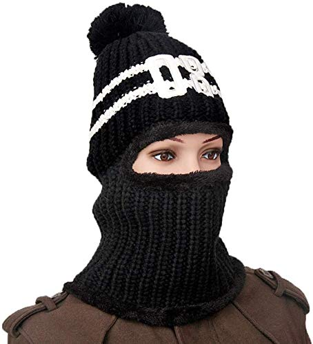 Multi Functional Knit Cap, Unisex Balaclava Beanie met dikke masker, warme fleece Bivakmuts Beanie Ski Hat for Fietsen, Schaatsen, winddicht lsmaa (Color : Black)