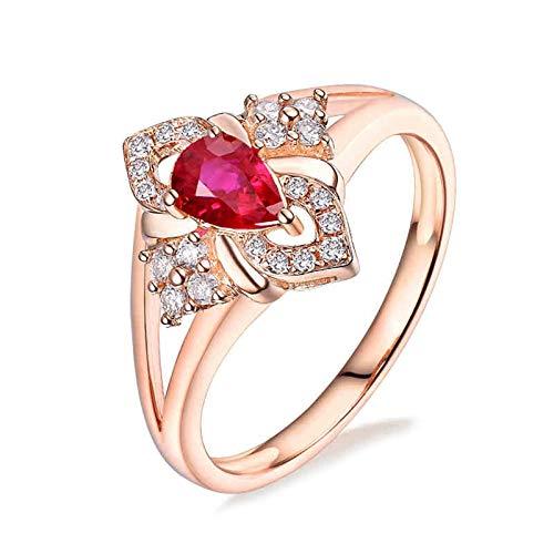 AnazoZ Anillo de Rubi Mujer,Anillos de Boda de Oro Rosa de 18K Oro Rosa y Rojo Gota de Agua Rubí Rojo 0.443ct Diamante 0.19ct Talla 18,5