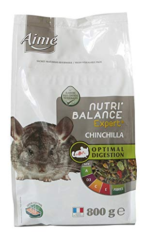 AIME Aliment complet Chinchilla, NUTRI'BALANCE EXPERT, Repas Premium varié vitamines et digestion optimale, 800G