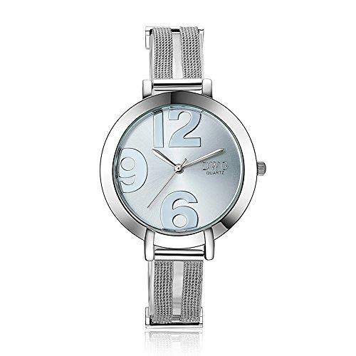 DWG Woman Watch Bracelet Wrist Watch Casual Digital Waterproof Silver Stainless Steel Mesh Strap Elegant Round Analog Quartz Ladies Dress Watches