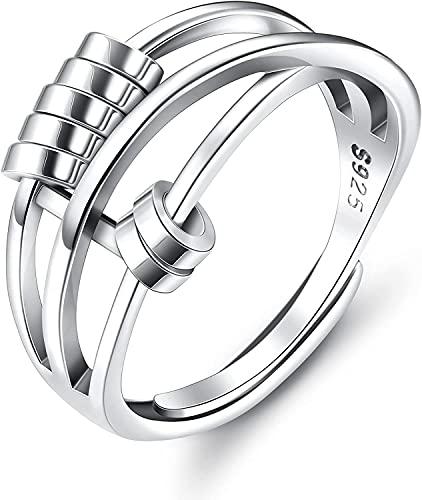 Milacolato 925 Anillo De Plata Esterlina Para Mujeres Hombres Fidget Anillos De Paz Para Spinner Ring Anillos De Banda Ajustable Retro