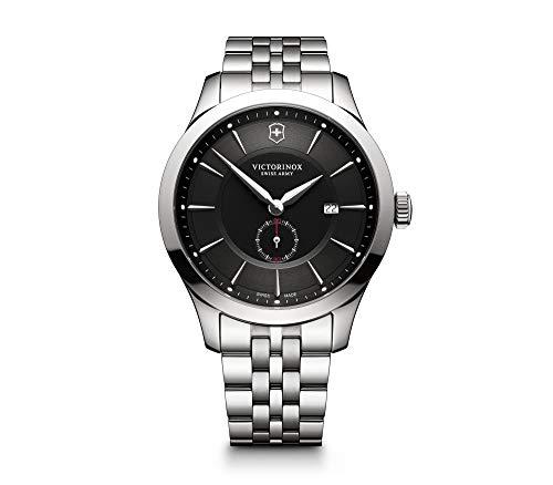 Victorinox Relógio masculino Swiss Army Alliance Sub-seconds, Mostrador preto, pulseira de aço inoxidável