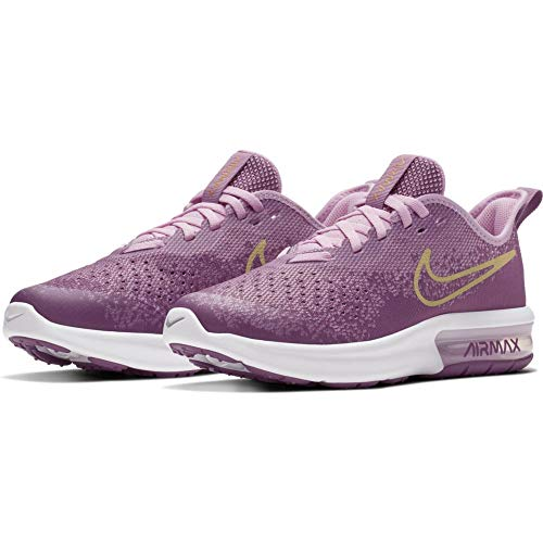 Nike Air Max Sequent 4 Running Shoe Violet Dust/Metallic Gold Star Size 3.5 M US