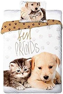 Unbekannt Best Friends - Juego de cama (140 x 200 cm y 1 funda de almohada de 70 x 90 cm, 100% algodón), diseño de gatos y...