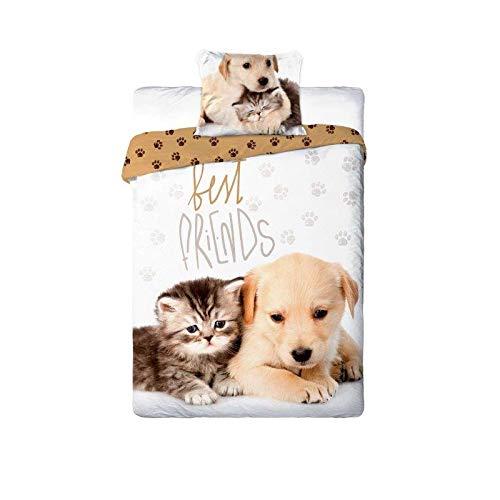 Unbekannt Best Friends Bettwäsche 140x200 cm + 1 Kissen 70x90 cm Bettbezug Katzen Hunde Motiv Bettbezug aus 100% Baumwolle