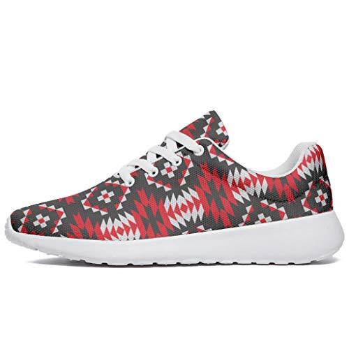 Zapatillas de deporte para hombre y mujer, de Egipto India, Maya rojo y negro, cómodas, para correr, caminar, entrenar, etc., color, talla 38 EU