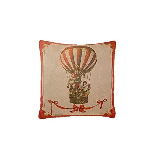 Blanc Mariclo Cojín decorativo con estampado de globo aerostático vintage...