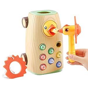 BBLIKE Juguetes Montessori educativos Juegos niños 2 3 4 años Bebes, 3 en 1 Juguetes Martillo Juego magneticos Desarrollo de Habilidades motoras, sin Electricidad