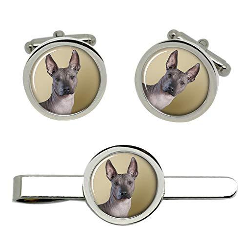 Giftshop UK Mexikanisches Hairless Hund Manschettenknöpfe und Krawatte Clip Set