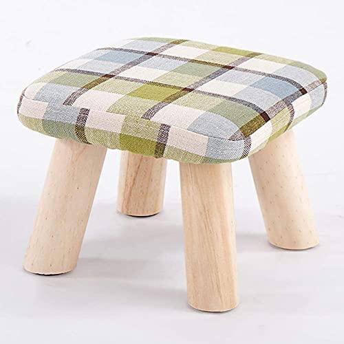 HKAFD Taburete otomano reposapiés puf reposapiés redondo tapizado puf acolchado puf madera maciza Foots asiento taburete zapato banco taburete verde