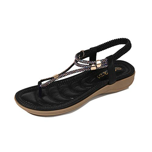 BOLUBILUY Women's Wide Width Flat Sandals,Elastic Strappy String Ankle Strap Summer Flat Beach Flops Flip Casual Shoes Black
