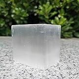 TYUTYU Natürlicher weißer Selenitwürfel Roher Selenit-Kristall, der Cube für Dekoration schnitzt