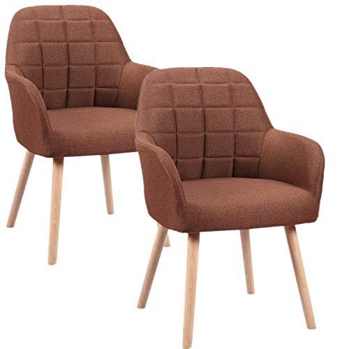 HENGMEI Esszimmerstühle 2er Set Wohnzimmerstuhl Küchenstühle Bürostuhl mit armlehne für Küche, Büro, Konferenzzimmer (Braun, 2er Set)