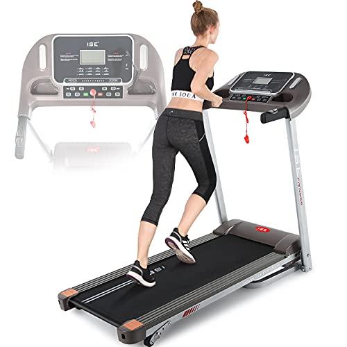ISE Cinta de Correr eléctrica, Velocidad de 14km/h, Pantalla LCD Multifuncional con 12 programas de Ejercicio para el hogar/Oficina, Deporte Cardiovascular, silenciosa, 120kg máximo, SY-T2708